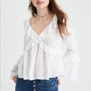 AEO long sleeve ruffle blouse